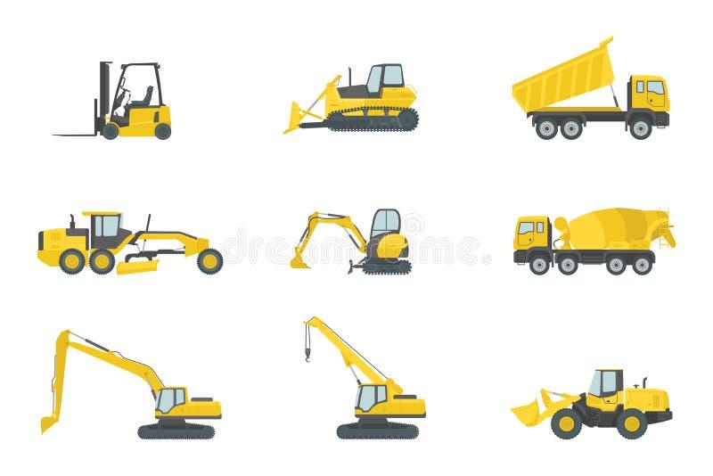 De zware vastgestelde inzamelingen van de vrachtwagenbouw met gele kleur en divers type - vector royalty-vrije illustratie