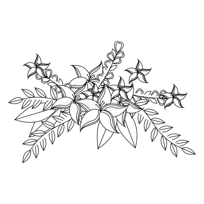 De zwart-wit contour met leliebloemen bekroont bloemenontwerp met bladeren royalty-vrije illustratie