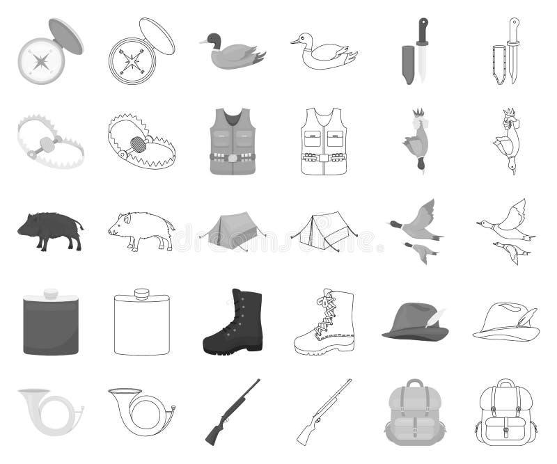 De zwart-wit jacht en trofee, overzichtspictogrammen in vastgestelde inzameling voor ontwerp De jacht en de voorraadweb van het m stock illustratie