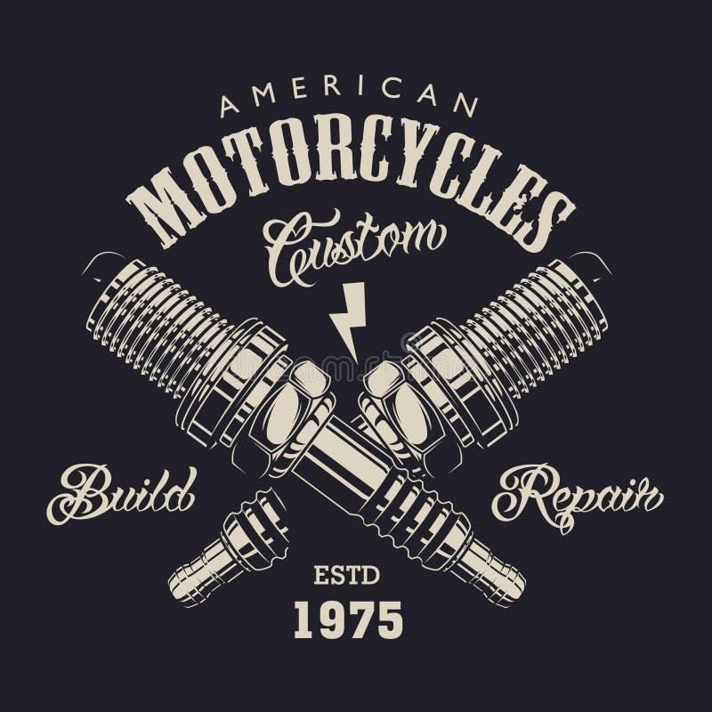 De zwart-wit motorfietsdienst logotype royalty-vrije illustratie