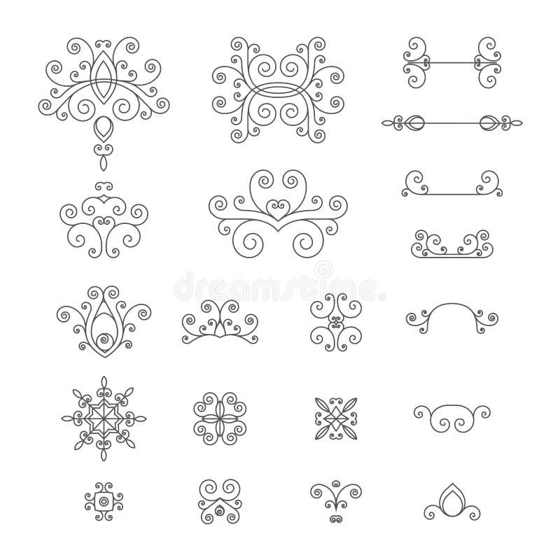 De zwart-wit, retro reeks uitstekende krullen, bloeit stock illustratie