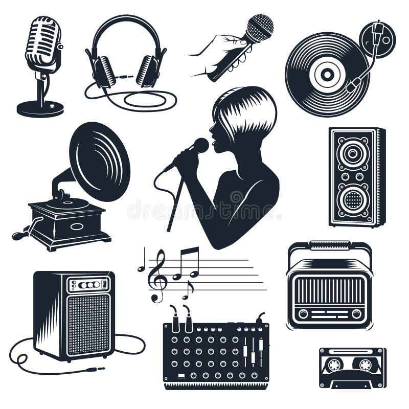 De Zwart-wit Uitstekende Reeks van karaokeelementen royalty-vrije illustratie