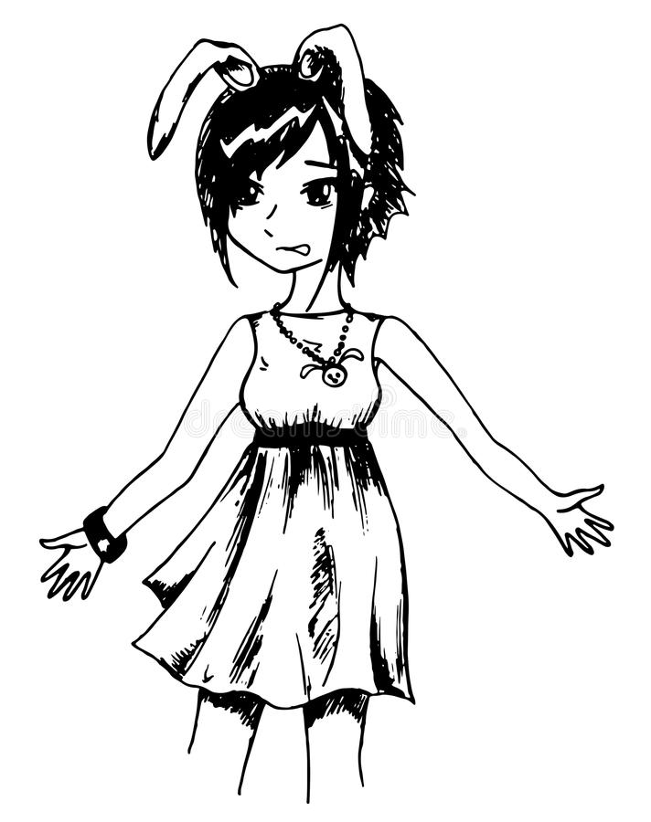 De zwart-wit vector van de mangabeeldverhaal geschetste kunst van het konijnmeisje anime stock illustratie