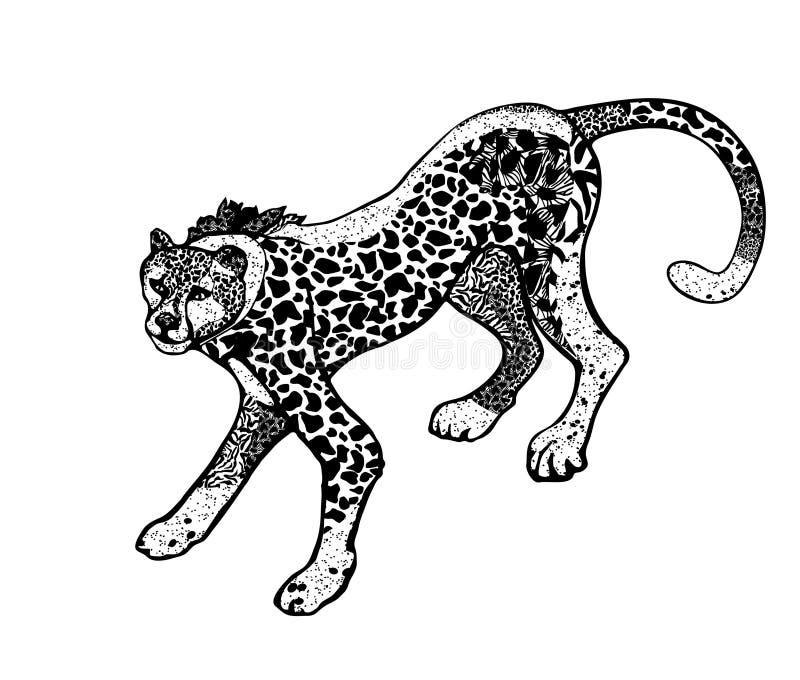 De zwart-wit vectorillustratie van luipaard in stijl zenart, isoleert op witte achtergrond royalty-vrije illustratie