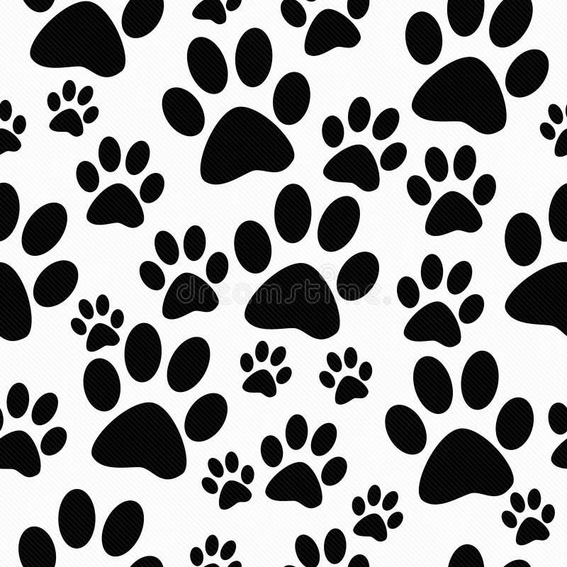 De zwart-witte Achtergrond van Hondpaw prints tile pattern repeat royalty-vrije illustratie