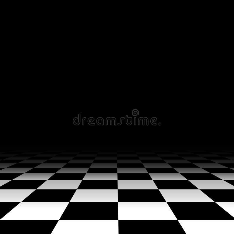 De zwart-witte achtergrond van de schaakvloer vector illustratie