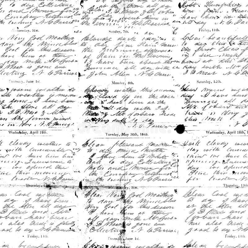 De zwart-witte antieke achtergrond van het manuscripthandschrift stock foto's