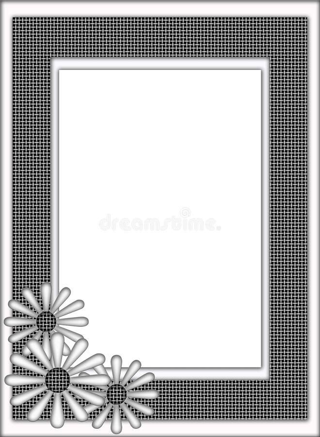 De zwart-witte Bloemen Geweven Grens van het Frame van het Patroon stock illustratie