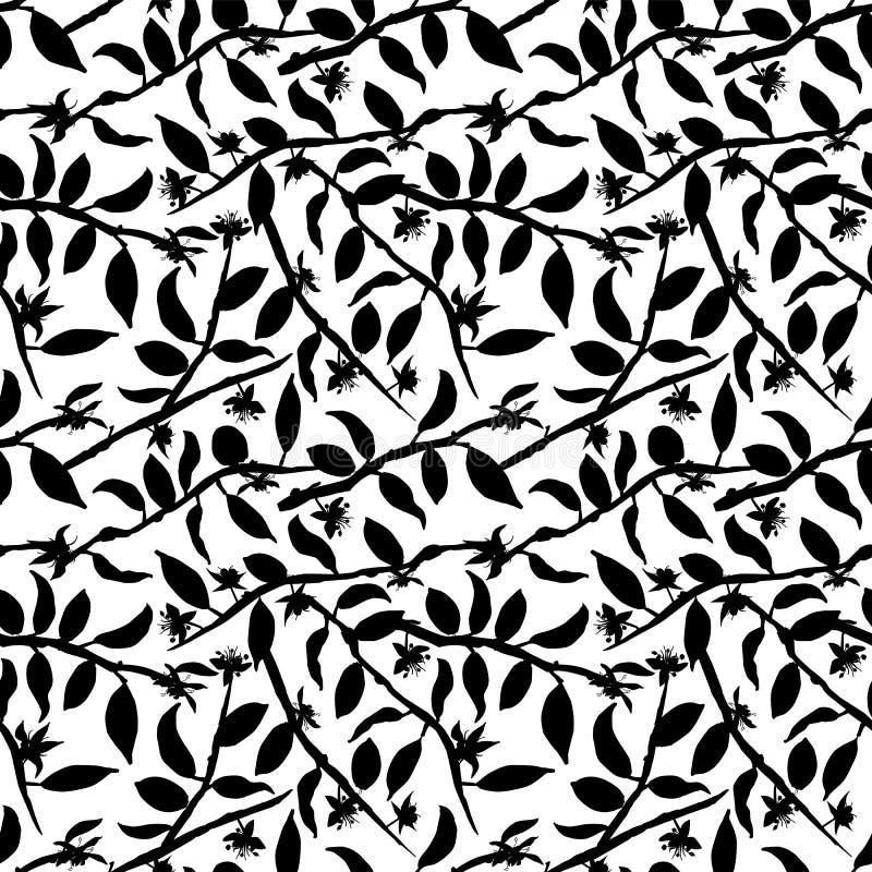 De zwart-witte bloemen van de cacaoboom op takken silhouetteert naadloze vectorpatroonachtergrond stock illustratie