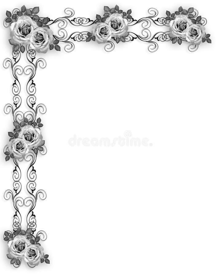 De zwart-witte BloemenGrens van Rozen stock illustratie