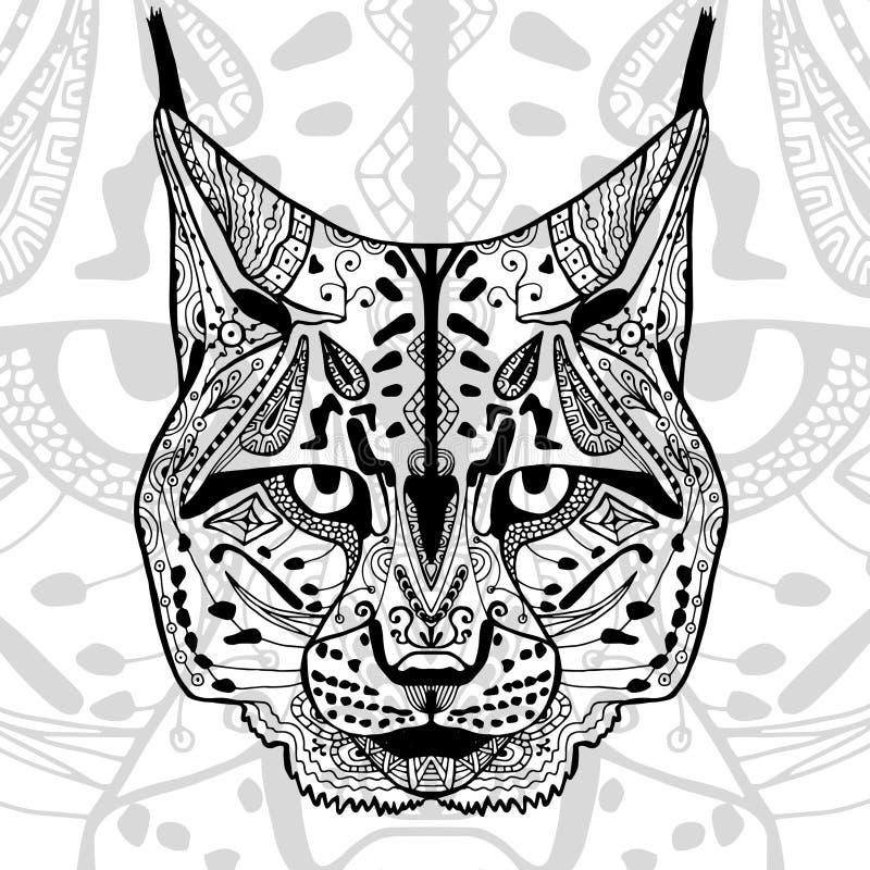 De zwart-witte bobcatdruk met etnische zentanglepatronen vector illustratie