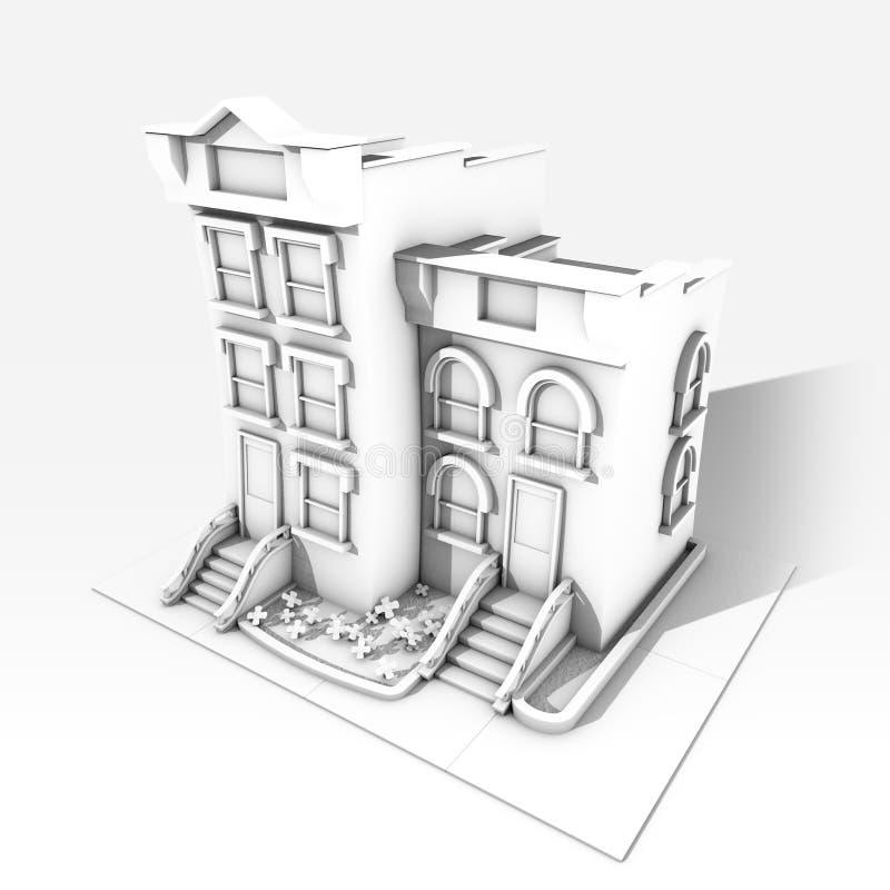 De zwart-witte bouw royalty-vrije stock afbeeldingen