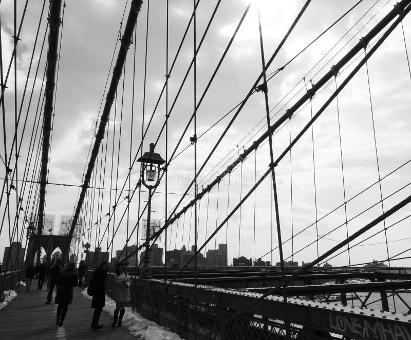 De Zwart-witte Brug van Brooklyn, stock afbeelding