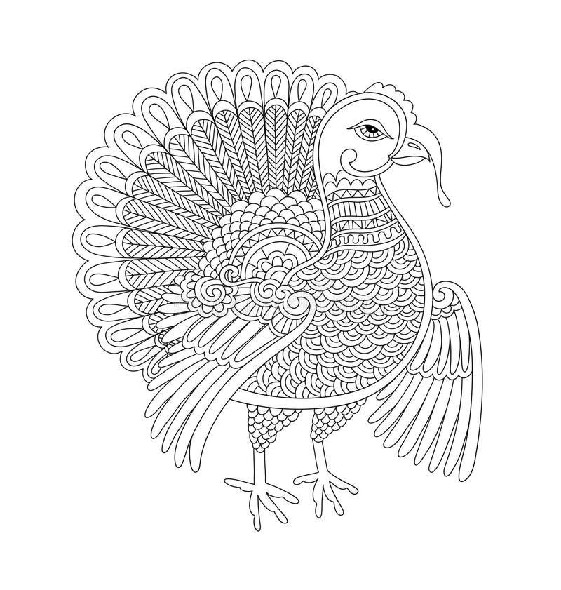 De zwart-witte decoratie van Turkije van de lijnkunst voor dankzeggingsholi royalty-vrije illustratie