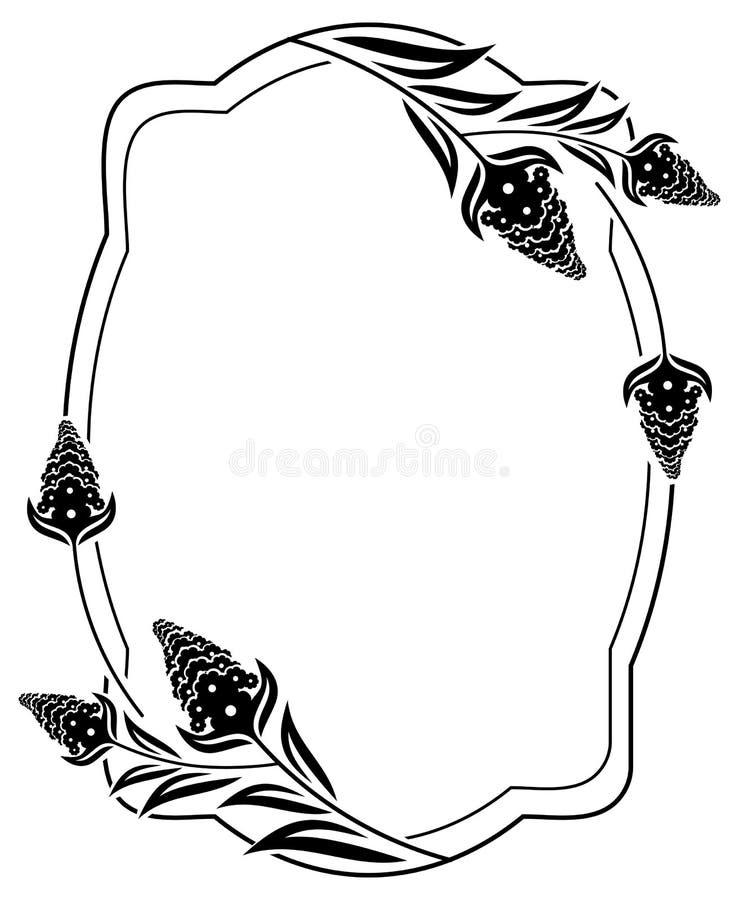 De zwart-witte decoratieve bloemen van het kaderoverzicht stock illustratie