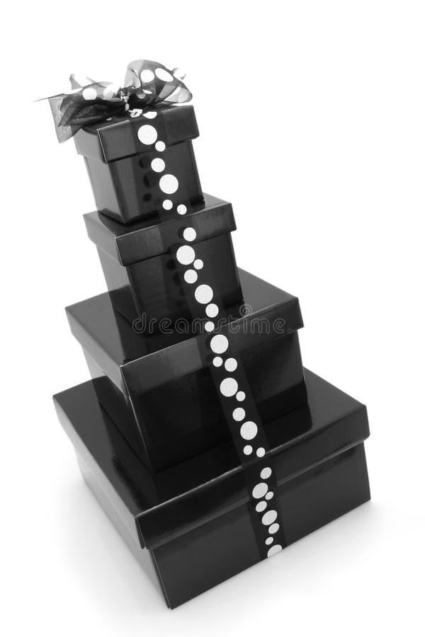 De zwart-witte Dozen van de Gift royalty-vrije stock fotografie