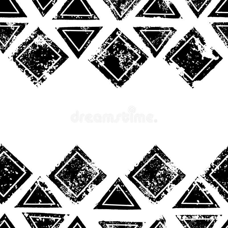 De zwart-witte driehoeken en de vierkanten verouderden geometrische etnische grunge naadloze grens, vector stock illustratie