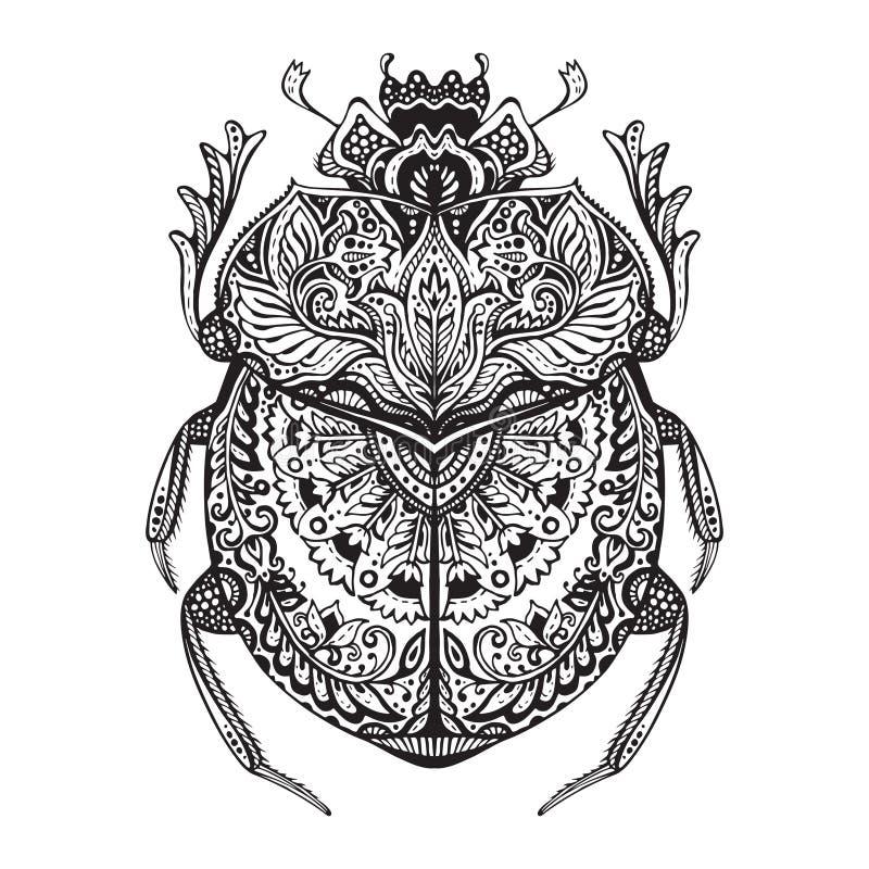 De zwart-witte getrokken hand zentangle stileerde mestkever vector illustratie