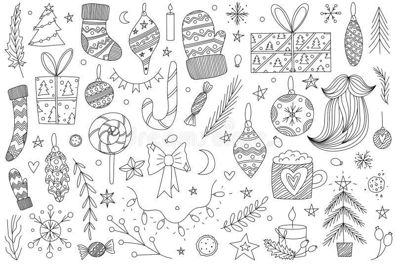De zwart-witte hand getrokken vectorreeks van de Kerstmiskrabbel de zwart-wit inzameling van de Kerstmiskrabbel vector illustratie