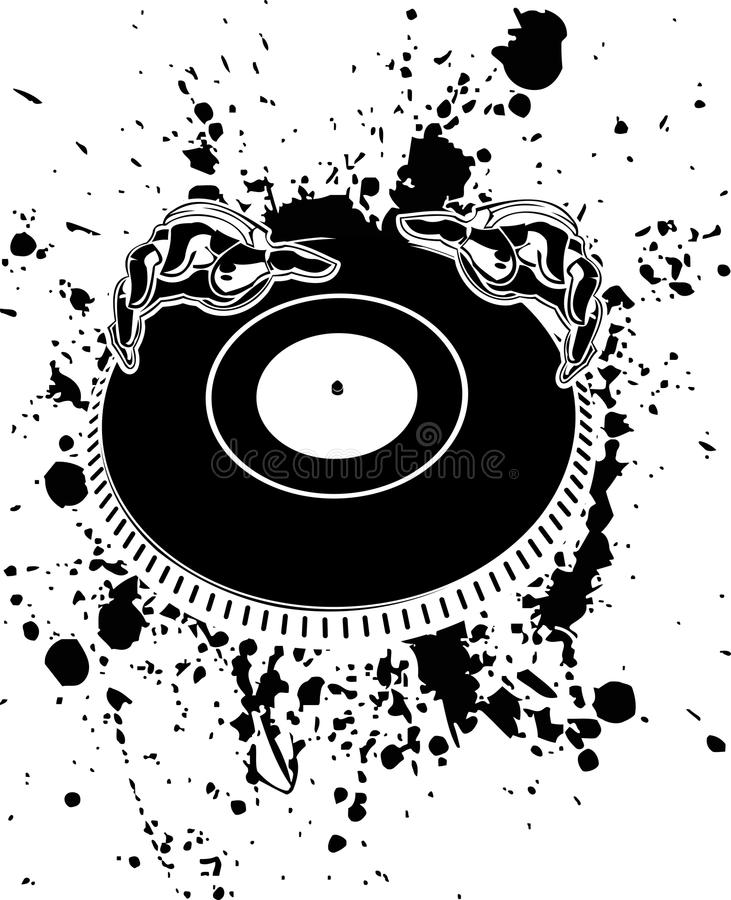 De zwart-witte Handen van DJ stock illustratie