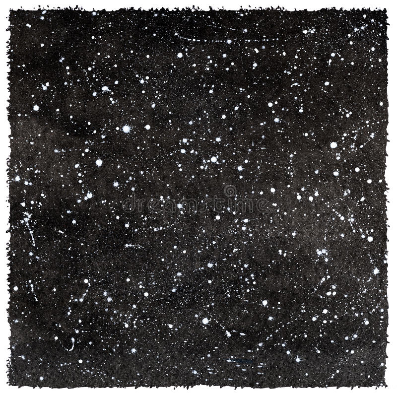 De zwart-witte hemel van de waterverfnacht met sterren en ruwe randen royalty-vrije illustratie