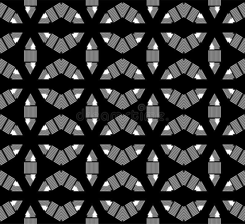 De zwart-witte Hexagonale abstracte kunst met horizontale, verticale digonallijn, seamleass vormt vector illustratie