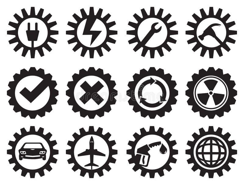 De zwart-witte Industriële Reeks van het Toestellen Vectorpictogram vector illustratie