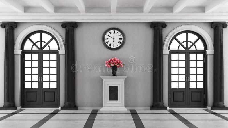 De zwart-witte ingang van het luxehuis stock illustratie