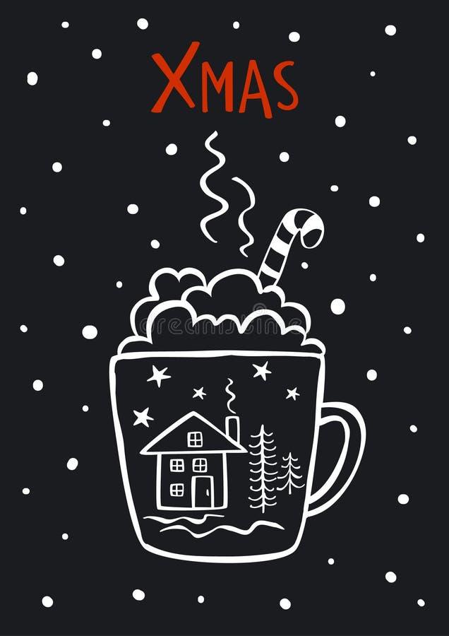 De zwart-witte leuke vrolijke winter van Kerstmiskerstmis, de nieuwe kaart van de jarengroet vector illustratie