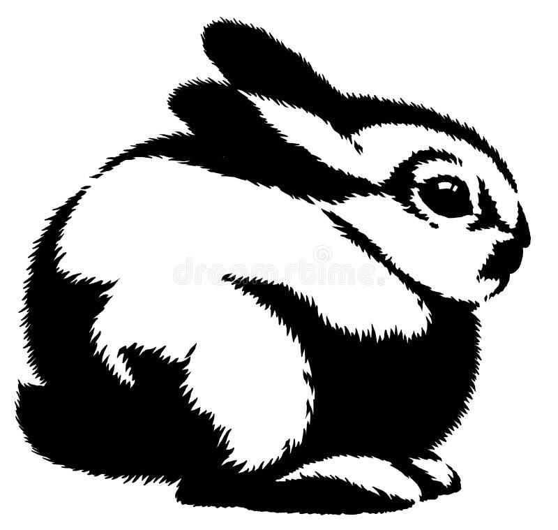 De zwart-witte lineaire verf trekt konijnillustratie stock illustratie