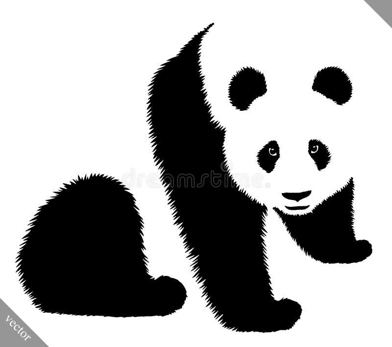 De zwart-witte lineaire verf trekt panda vectorillustratie stock illustratie