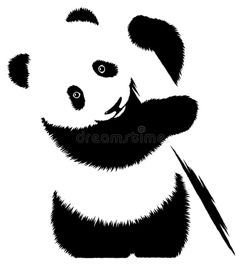 De zwart-witte lineaire verf trekt pandaillustratie vector illustratie