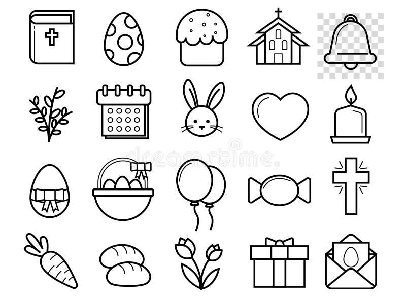 De zwart-witte lineaire vlakke geplaatste pictogrammen van Pasen vector illustratie