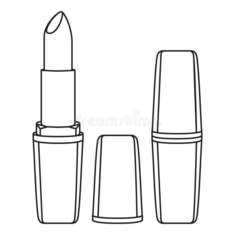 De zwart-witte lippenstift van de lijnkunst stock illustratie
