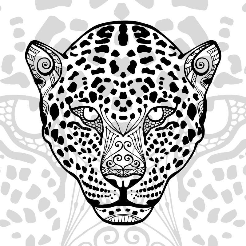 De zwart-witte luipaarddruk met etnische zentanglepatronen stock illustratie
