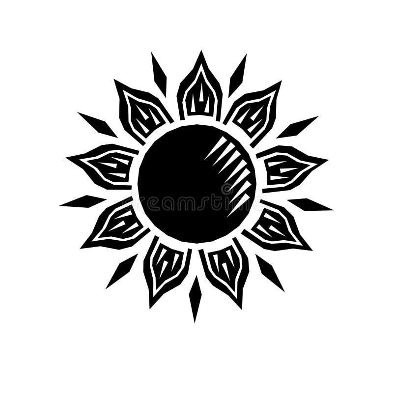 De zwart-witte retro gravure van de zonhoutdruk, vector vector illustratie