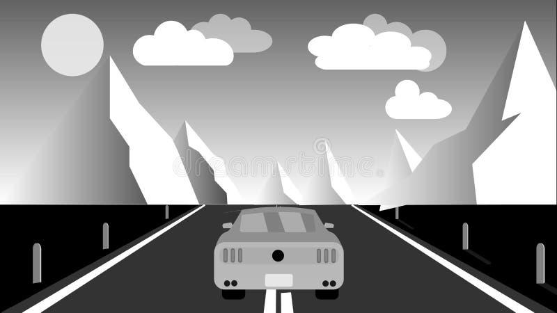 De zwart-witte ritten van de sporten snel mooie krachtige auto langs de weg tegen een achtergrond van een landschap van de bergwi vector illustratie
