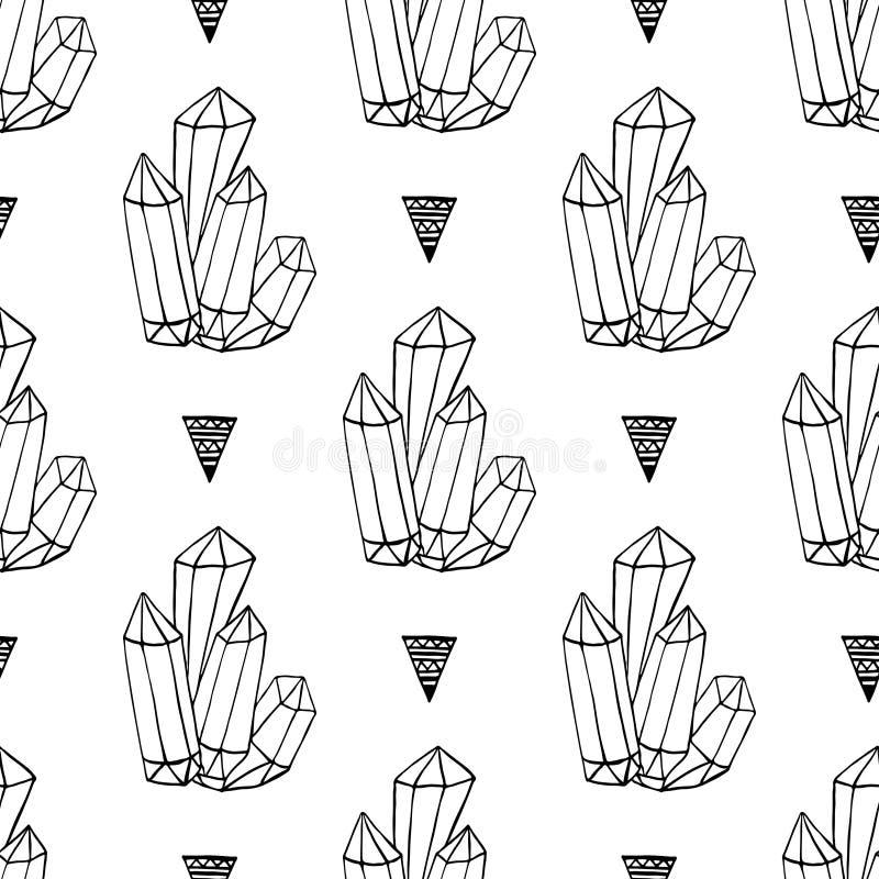 De zwart-witte rotsen van kristallenmineralen overhandigen getrokken vector naadloos patroon Driehoeks hipster achtergrond met ju royalty-vrije illustratie