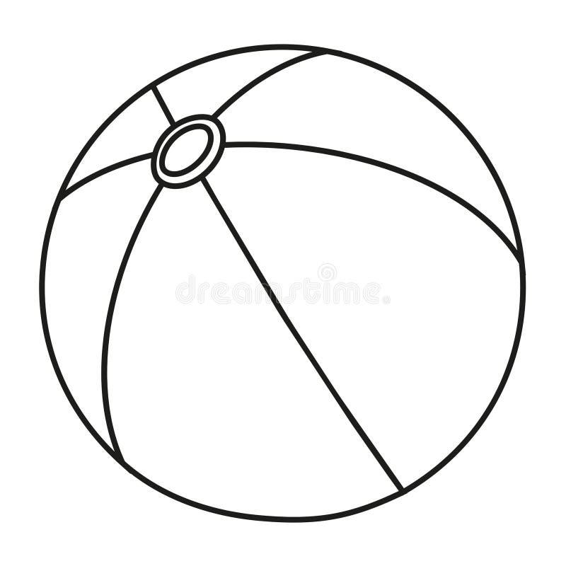 De zwart-witte rubberbal van de lijnkunst royalty-vrije illustratie