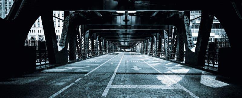 De zwart-witte straat van Chicago, stock foto