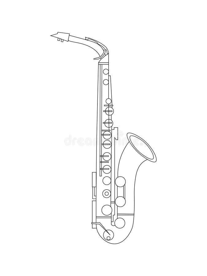 De zwart-witte tekening van de lijnkunst van Alto Saxophone-illustratie royalty-vrije illustratie