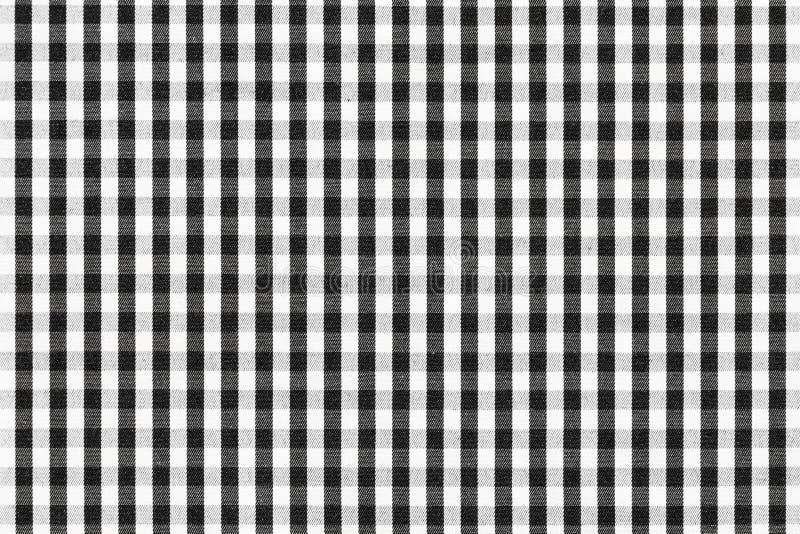 De zwart-witte Textuur van de Plaid Textielstof royalty-vrije stock foto