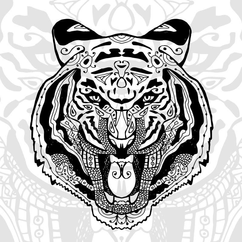 De zwart-witte tijgerdruk met etnische zentanglepatronen vector illustratie