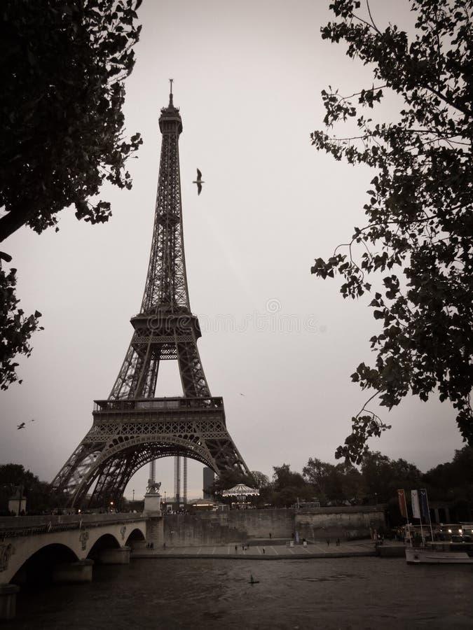 De zwart-witte Toren van Eiffel in de Stad van Parijs  stock foto