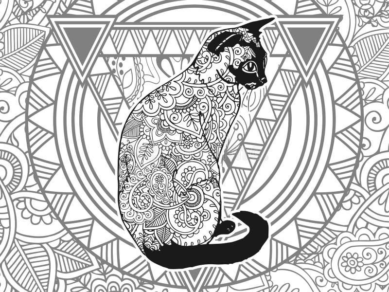 De zwart-witte van de de spanningsversie van Paisley van de kattenhand getrokken krabbel dierlijke volwassen kleurende pagina zen stock illustratie