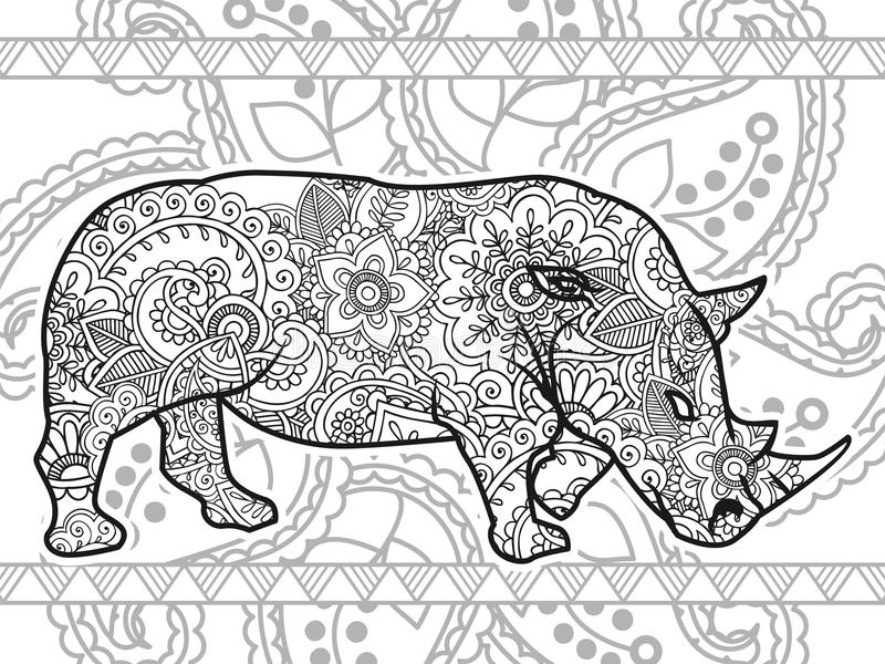 De zwart-witte van de de spanningsversie van Paisley van de rinoceroshand getrokken krabbel dierlijke volwassen kleurende pagina  vector illustratie