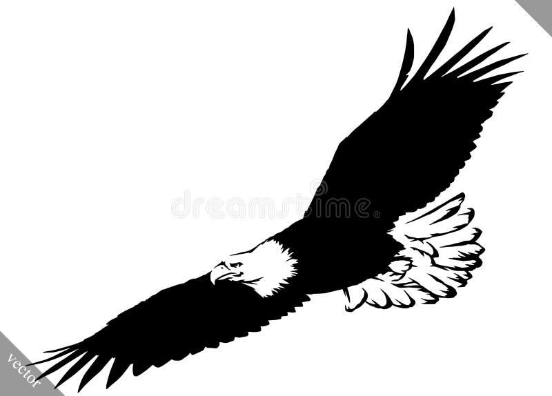 De zwart-witte verf trekt de vectorillustratie van de adelaarsvogel royalty-vrije illustratie