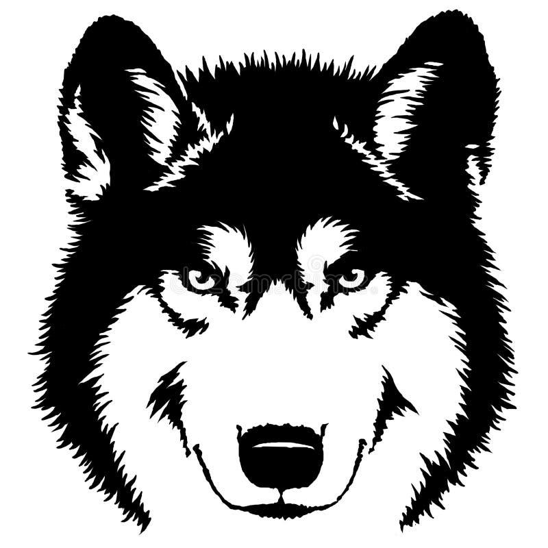 De zwart-witte verf trekt wolfsillustratie royalty-vrije illustratie