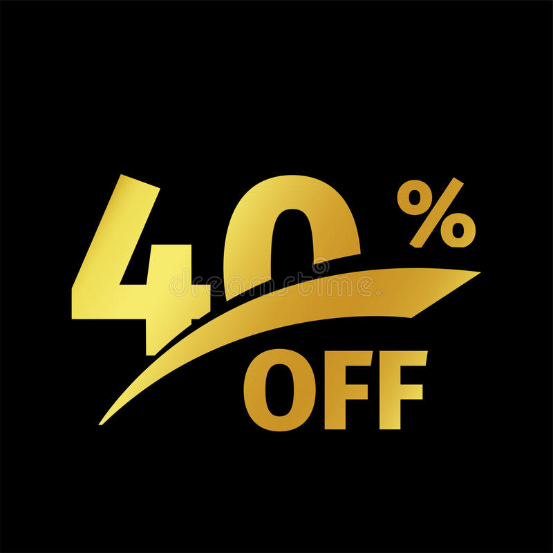 De zwarte aankoop van de bannerkorting het vector gouden embleem van de 40 percentenverkoop op een zwarte achtergrond Promotie be stock illustratie