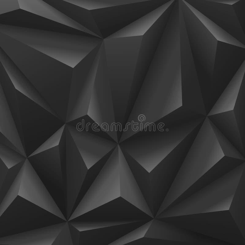 De zwarte abstracte achtergrond van de veelhoekkoolstof. royalty-vrije illustratie